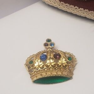 Unique Vintage Crown Brooch